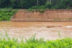 Boat coastal landslides. Stock Images