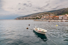Boat and Coastline of Town Senj near Istria Royalty Free Stock Image