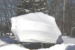Boat with Shrink Wrap. Boat with a coat of shrink-wrap , protection from winter elements in North America Stock Photography