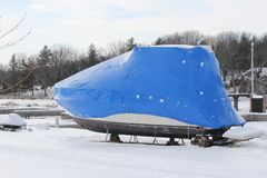 Boat with Snow and Shrink Wrap. Boat with a coat of shrink-wrap , protection from winter elements in North America Stock Images