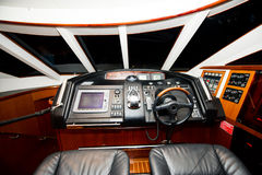 Boat cockpit. Luxury yacht cockpit Maritime transport Stock Photo