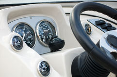 Boat Cockpit. A Boat Cockpit in the sea with a compass (Color Stock Photo