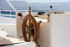 Boat cockpit and wheel Royalty Free Stock Photography
