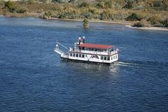 Boat in Colorado River. Boat Cruising in Colorado River in Laughlin between Nevada and Arizona Stock Photo