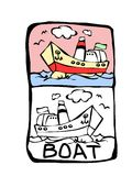 Boat coloring book. Printable coloring page for children or can be used as clip art royalty free illustration