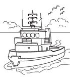 Boat coloring page royalty free illustration