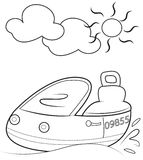 Boat coloring page Stock Image