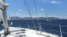Boat competitor of sailing regatta. Stock Image