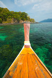 Boat Coral Reef Green Clear Ocean Thailand Stock Photos