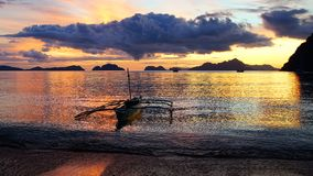 Boat at Corong corong beach. El Nido Royalty Free Stock Photography