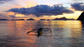 Boat at Corong corong beach. El Nido Royalty Free Stock Image