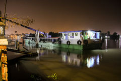 Boat-crane in the pier. In Vietnam at night Stock Photography