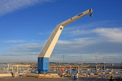 Boat Crane. In Portland harbour Stock Image