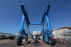 Boat crane at the shipyard. Los Cristianos, Tenerife. Photo taken at 23rd of February 2011 Royalty Free Stock Photo