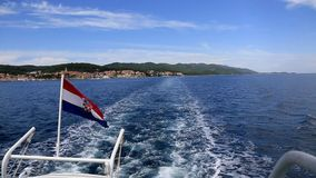 Boat with Croatian flag. Speed boat with Croatian flag at the see stock video footage