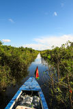 Boat Crossing the Amazon. Royalty Free Stock Photo