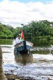 Boat Crossing the Amazon. Royalty Free Stock Photography