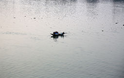 A boat crossing Hoogly river in Kolkata Royalty Free Stock Images