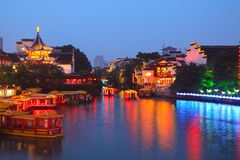 Boat cruise on the canal in confucius temple Stock Photos