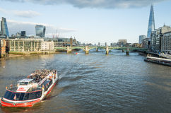 Boat cruises on the river Thames, London. Royalty Free Stock Image