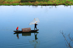 Boat cruising on the Moon in Wuyuan Royalty Free Stock Photos