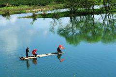 Boat cruising on the Moon in Wuyuan Stock Images