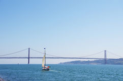 Boat cruising on the river Tejo near Lisbon Stock Image