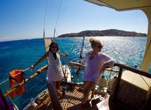 Boat Crusing. Midday cruising on a boat. Island hopping in Greece. Mediterranean Stock Photography