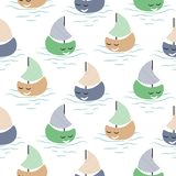 Boat cute baby seamless vector pattern. Blue and green background with smiling sailing ships on water stock illustration