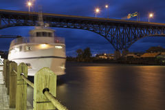Boat on Cuyahoga River Royalty Free Stock Photography