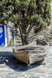 Boat with a cypress inside in Portlligat Stock Photos