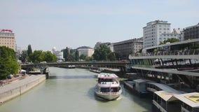 Boat on Danube river - Austria stock video