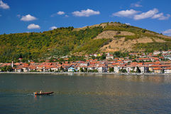 Boat on Danube river. At Orsova, Romania Royalty Free Stock Photos