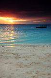 Boat in a dark sunset - Zanzibar Stock Images