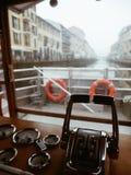 Navigli Milan boat experience. On a boat in Darsena navigli Milano Royalty Free Stock Image