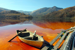 Boat on a dead lake Stock Photography
