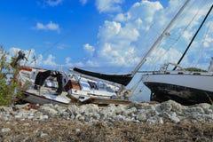 Boat debris washed ashore during Hurricane Irma. Damaged boats and debris washed up along Fleming Key Cut and Trumbo Point, Key West Florida after Hurricane Irma Stock Photo