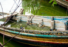 Boat decaying and drowned in lake. Old Boat decaying and drowned in lake Stock Photos