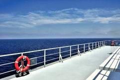 Boat deck. And railing, navigation in the Mediterranean Sea Royalty Free Stock Image
