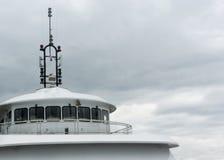 Boat deck on gray sky Royalty Free Stock Photos