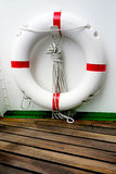 Boat deck swim ring close up Stock Image