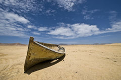 Boat in the desert Royalty Free Stock Images