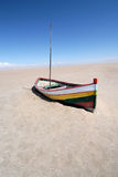 Boat in desert Stock Image