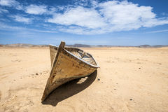 Boat in the desert, Paracas, Peru Stock Photo