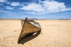 Boat in the desert, Paracas, Peru Stock Photo