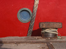 Boat details. Picture of a red boat with great detail stock photography