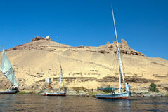 Boat dhow on Nile. A dhow sails on the Nile in front of Elephantine Island, Aswan royalty free stock photography