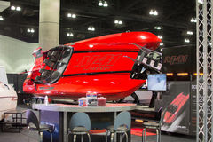 Boat on display at the Los Angeles Boat Show on February 7, 2014 Stock Photography