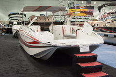 Boat on display at the Los Angeles Boat Show on February 7, 2014 Royalty Free Stock Photo