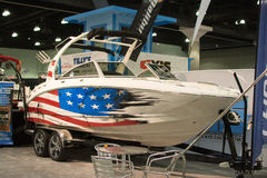Boat on display at the Los Angeles Boat Show on February 7, 2014 Royalty Free Stock Photography